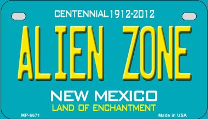 Alien Zone Teal New Mexico Novelty Metal Motorcycle Plate MP-6671