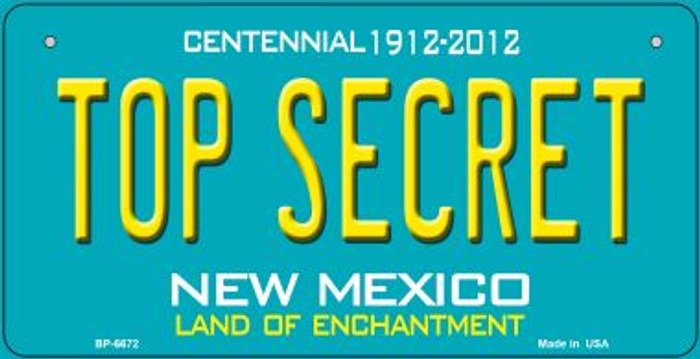 Top Secret Teal New Mexico Novelty Metal Bicycle Plate BP-6672
