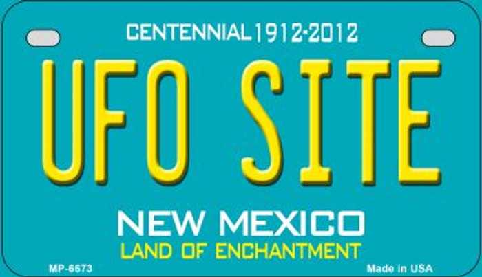 UFO Site Teal New Mexico Novelty Metal Motorcycle Plate MP-6673