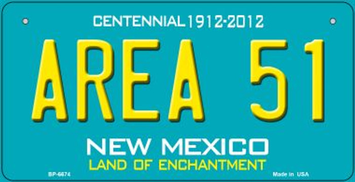 Area 51 Teal New Mexico Novelty Metal Bicycle Plate BP-6674