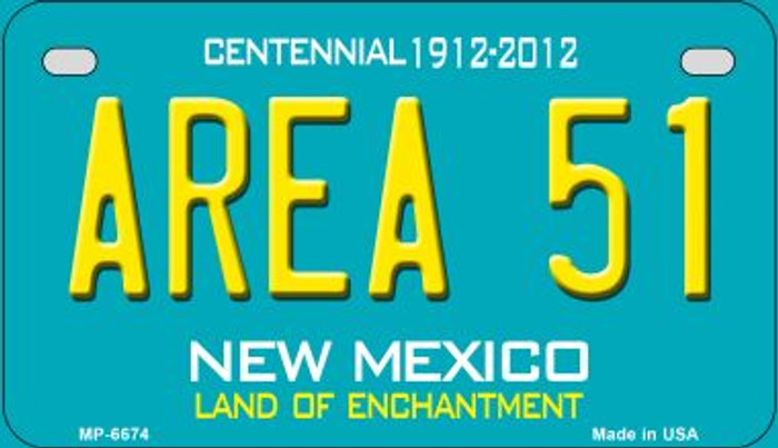 Area 51 Teal New Mexico Novelty Metal Motorcycle Plate MP-6674
