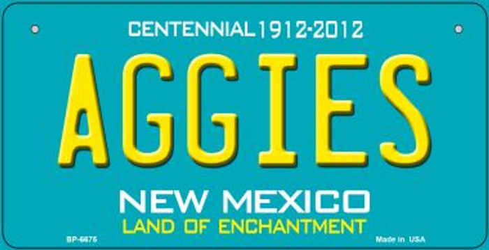 Aggies Teal New Mexico Novelty Metal Bicycle Plate BP-6675