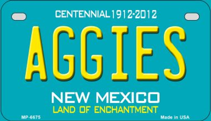Aggies Teal New Mexico Novelty Metal Motorcycle Plate MP-6675