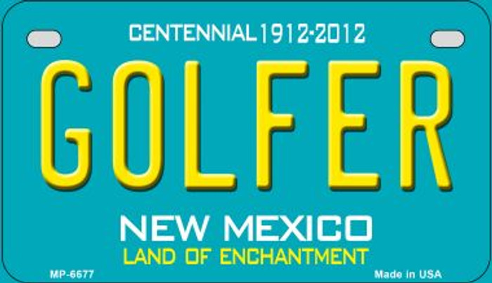 Golfer Teal New Mexico Novelty Metal Motorcycle Plate MP-6677
