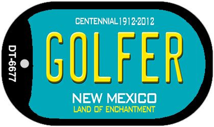 Golfer Teal New Mexico Novelty Metal Dog Tag Necklace DT-6677
