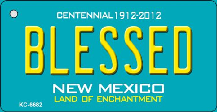 Blessed Teal New Mexico Novelty Metal Key Chain KC-6682