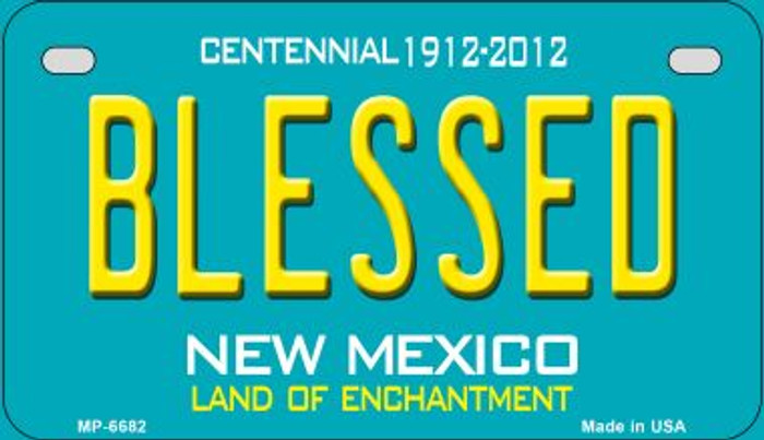 Blessed Teal New Mexico Novelty Metal Motorcycle Plate MP-6682