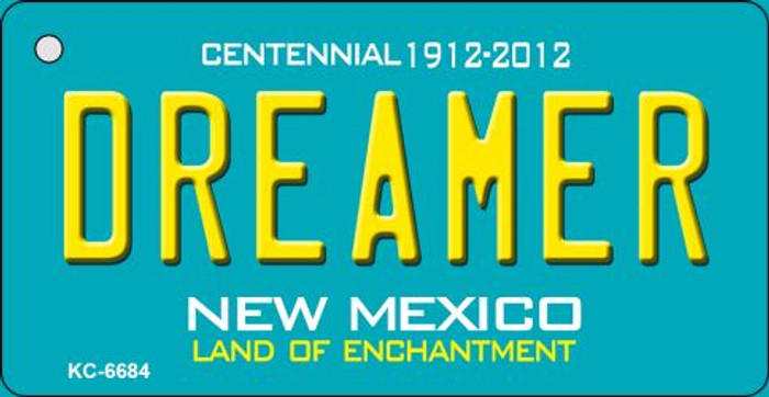 Dreamer Teal New Mexico Novelty Metal Key Chain KC-6684