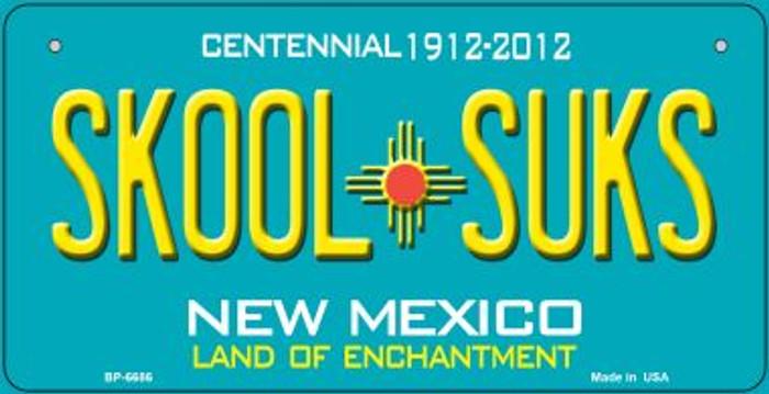 Skool Suks Teal New Mexico Novelty Metal Bicycle Plate BP-6686