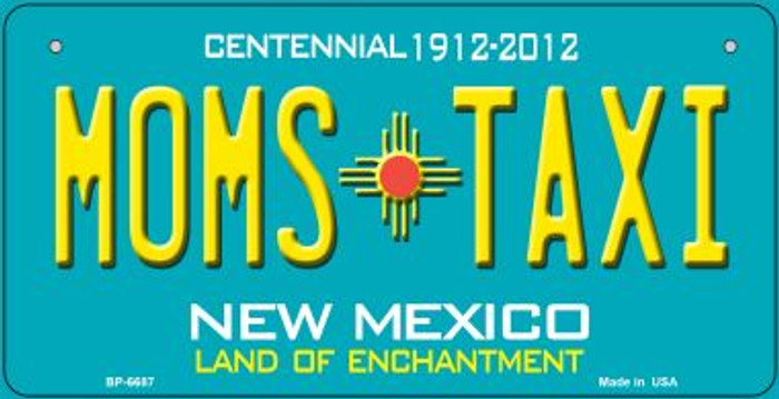 Moms Taxi Teal New Mexico Novelty Metal Bicycle Plate BP-6687