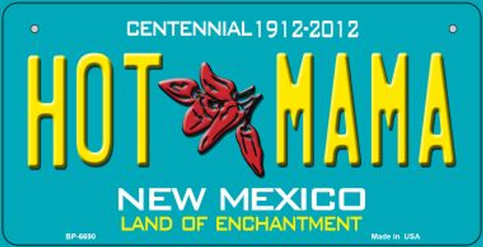 Hot Mama Teal New Mexico Novelty Metal Bicycle Plate BP-6690