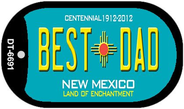 Best Dad Teal New Mexico Novelty Metal Dog Tag Necklace DT-6691