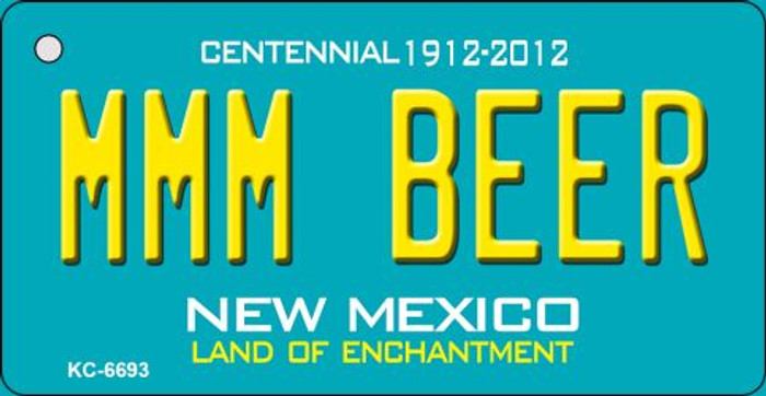 MMM Beer Teal New Mexico Novelty Metal Key Chain KC-6693