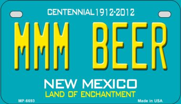 MMM Beer Teal New Mexico Novelty Metal Motorcycle Plate MP-6693