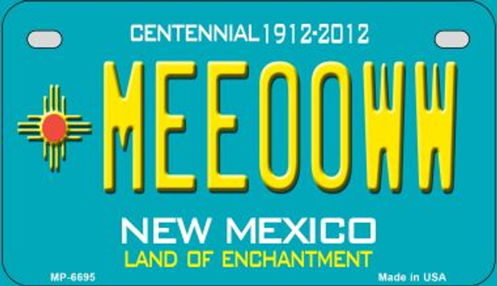 Meeooww Teal New Mexico Novelty Metal Motorcycle Plate MP-6695