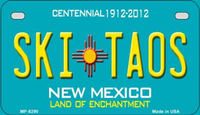 Ski Taos Teal New Mexico Novelty Metal Motorcycle Plate MP-8290
