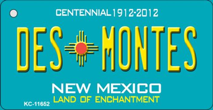 Des Montes Teal New Mexico Novelty Metal Key Chain KC-11652