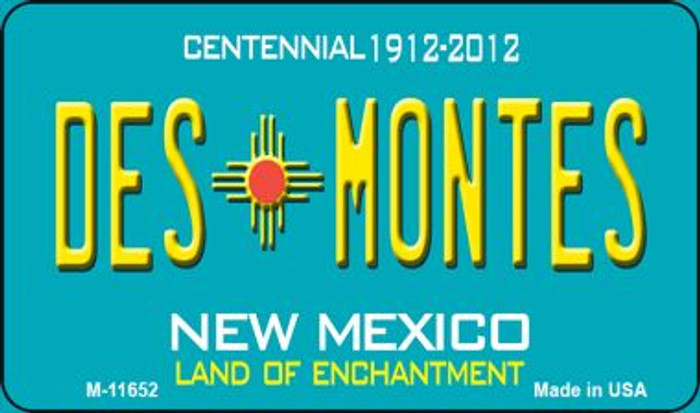 Des Montes Teal New Mexico Novelty Metal Magnet M-11652