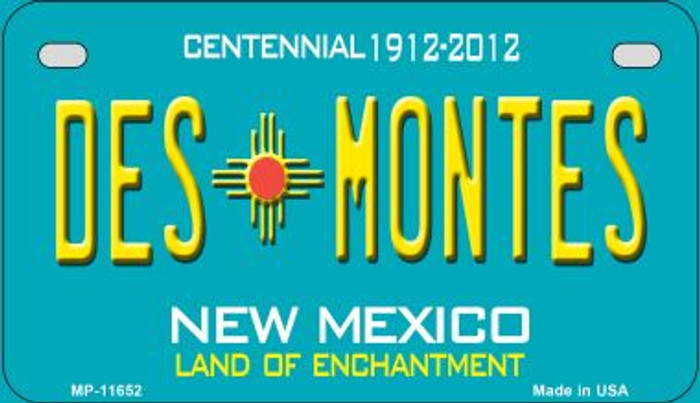 Des Montes Teal New Mexico Novelty Metal Motorcycle Plate MP-11652