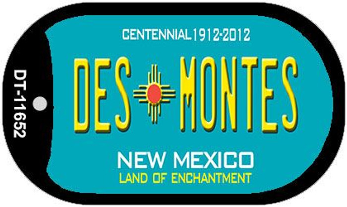 Des Montes Teal New Mexico Novelty Metal Dog Tag Necklace DT-11652