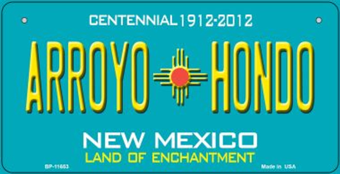 Arroyo Hondo Teal New Mexico Novelty Metal Bicycle Plate BP-11653