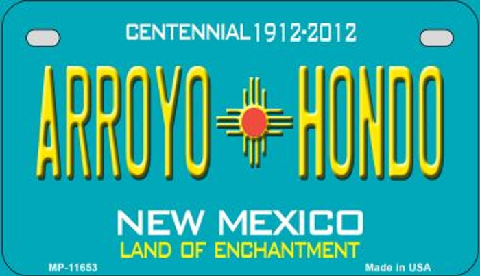 Arroyo Hondo Teal New Mexico Novelty Metal Motorcycle Plate MP-11653