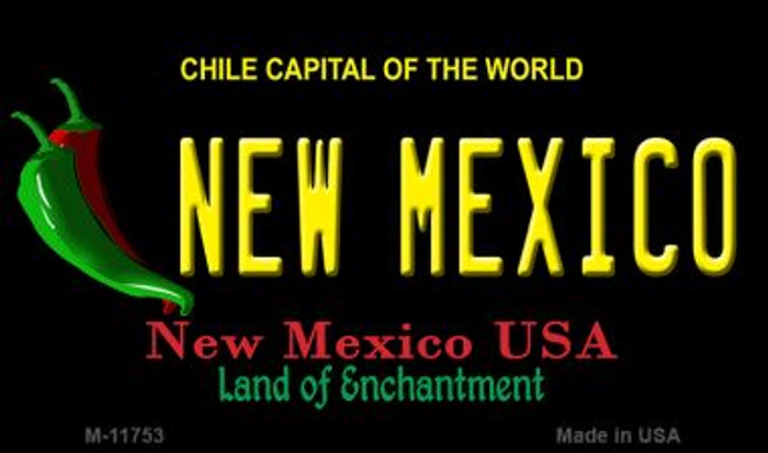 New Mexico Black New Mexico Novelty Metal Magnet M-11753