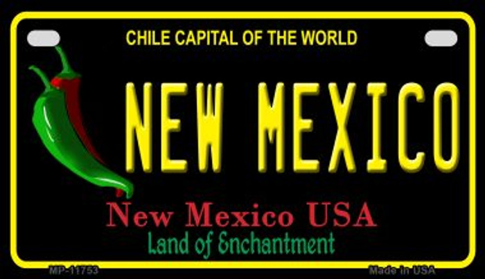 New Mexico Black New Mexico Novelty Metal Motorcycle Plate MP-11753