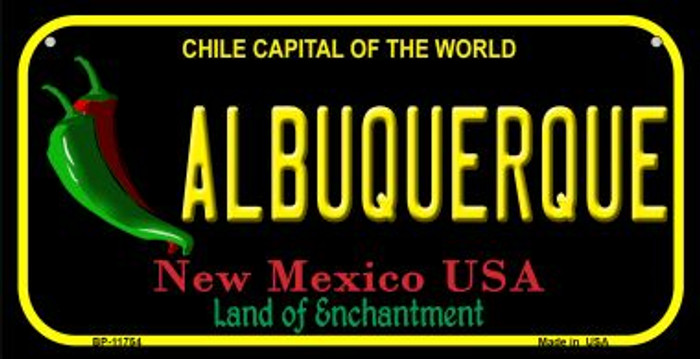 Albuquerque Black New Mexico Novelty Metal Bicycle Plate BP-11754