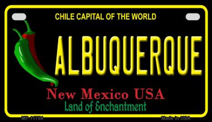 Albuquerque Black New Mexico Novelty Metal Motorcycle Plate MP-11754