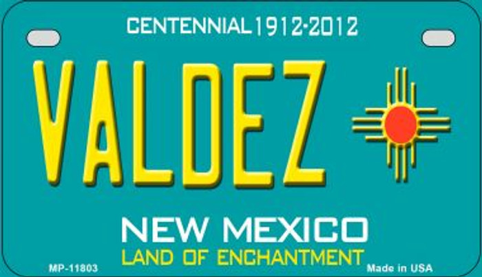 Valdez Teal New Mexico Novelty Metal Motorcycle Plate MP-11803