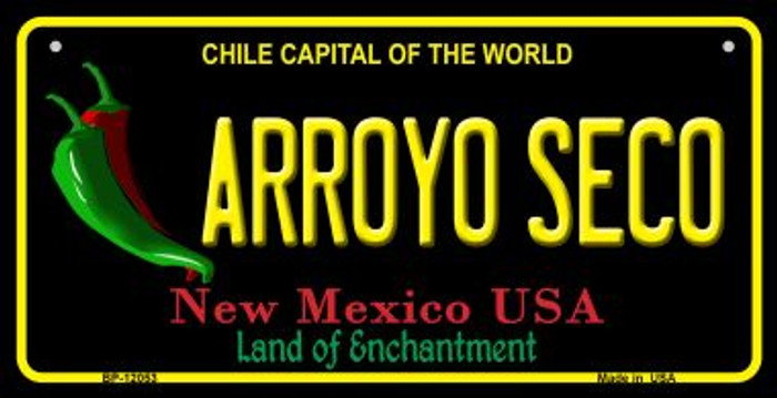Arroyo Seco Black New Mexico Novelty Metal Bicycle Plate BP-12053