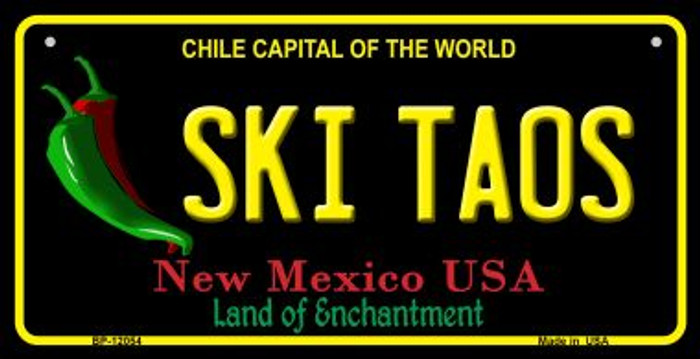 Ski Taos Black New Mexico Novelty Metal Bicycle Plate BP-12054