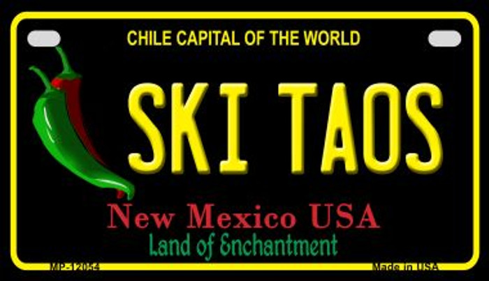 Ski Taos Black New Mexico Novelty Metal Motorcycle Plate MP-12054