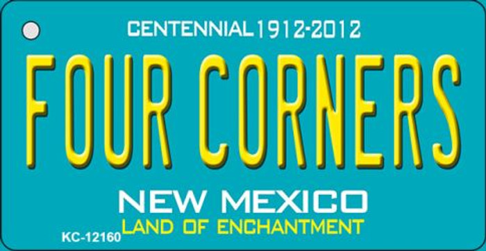 Four Corners Teal New Mexico Novelty Metal Key Chain KC-12160