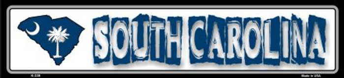 South Carolina State Outline Novelty Metal Vanity Small Street Sign