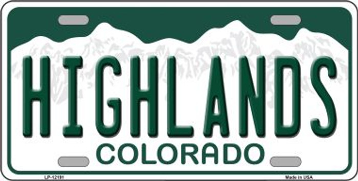 Highlands Colorado Novelty Metal License Plate LP-12191