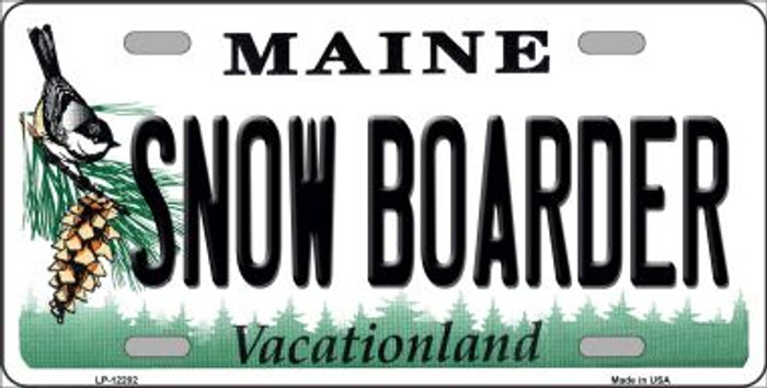 Snow Boarder Maine Novelty Metal License Plate LP-12202