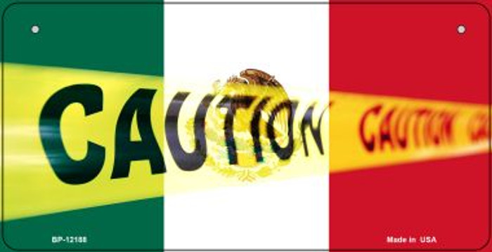 Caution Mexico Flag Novelty Metal Bicycle Plate BP-12188