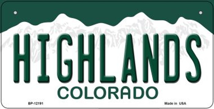 Highlands Colorado Novelty Metal Bicycle Plate BP-12191