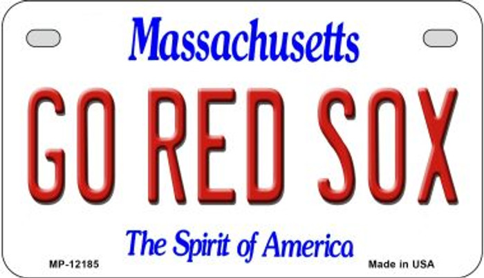 Go Red Sox Massachusetts Novelty Metal Motorcycle Plate MP-12185