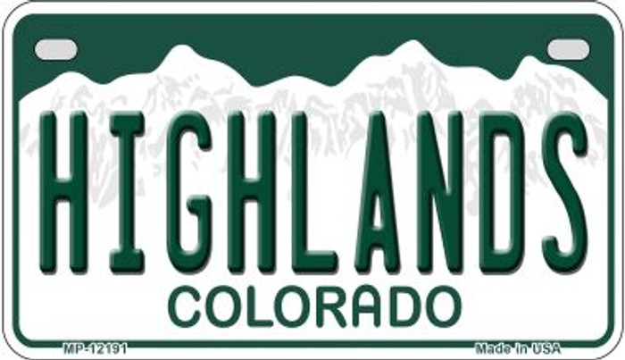 Highlands Colorado Novelty Metal Motorcycle Plate MP-12191