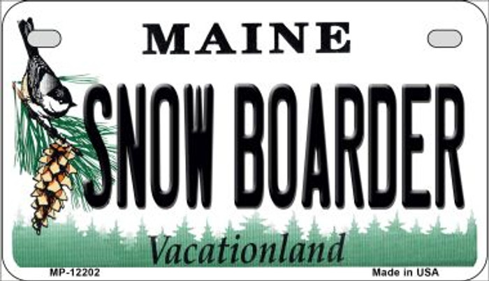 Snow Boarder Maine Novelty Metal Motorcycle Plate MP-12202