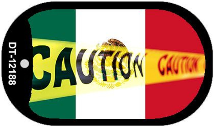 Caution Mexico Flag Novelty Metal Dog Tag Necklace DT-12188