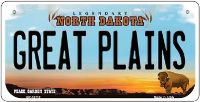 Great Plains North Dakota Novelty Metal Bicycle Plate BP-10712