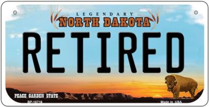 Retired North Dakota Novelty Metal Bicycle Plate BP-10716