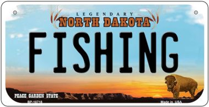 Fishing North Dakota Novelty Metal Bicycle Plate BP-10718