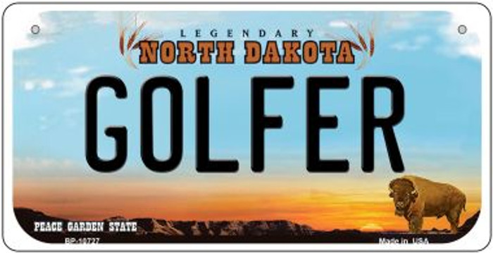 Golfer North Dakota Novelty Metal Bicycle Plate BP-10727