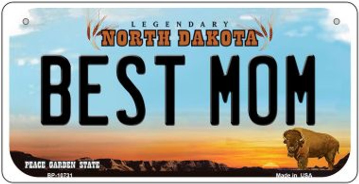 Best Mom North Dakota Novelty Metal Bicycle Plate BP-10731