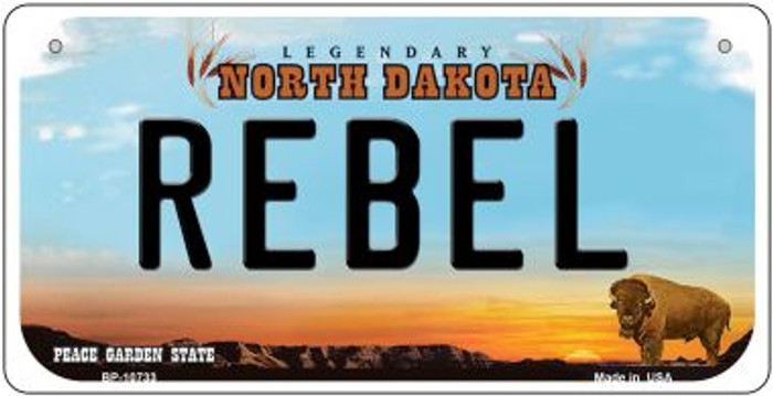 Rebel North Dakota Novelty Metal Bicycle Plate BP-10733